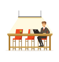 businessman working with laptop in the open space vector image