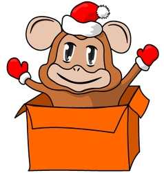 Christmas gift with a monkey vector