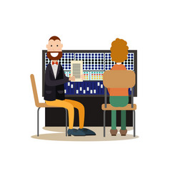 radio people in flat style vector image