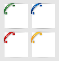 Sale corner ribbon on a white paper vector image vector image