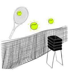 tennis set of rackets ball vector image