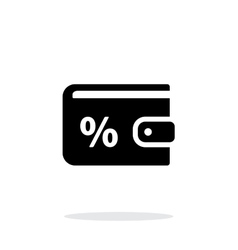 Wallet with percentage icon on white background vector image vector image