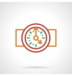 Color simple line wall clock icon vector image vector image