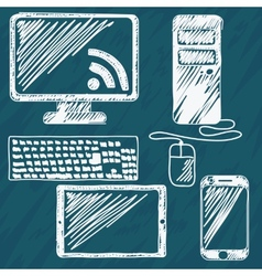 Digital devices hand drawn vector image vector image