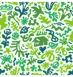flowers and plants - seamless pattern vector image