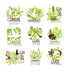 Medical ganja colorful graphic design template vector