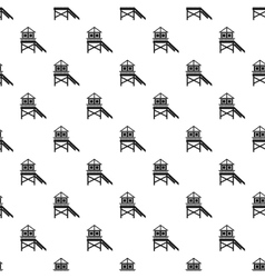 Rescue booth on beach pattern simple style vector