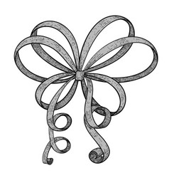ribbon bow hand drawn sketch vector image vector image