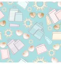 Summer pattern with sun sunglasses and bags vector image vector image