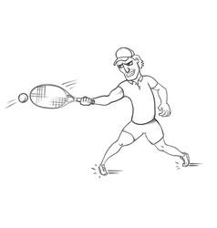 tennis player striking a ball vector image vector image