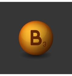 Vitamin B3 Orange Glossy Sphere Icon on Dark vector image
