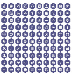 100 activity icons hexagon purple vector