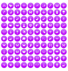 100 fly icons set purple vector