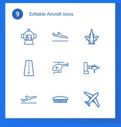 9 aircraft icons vector image