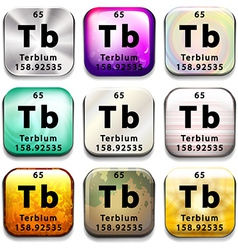 A button showing the element terbium vector