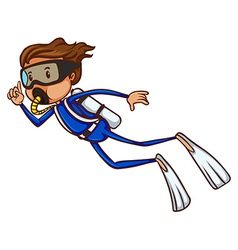A simple sketch of a boy scuba diving vector image