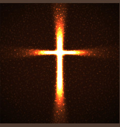 Abstract shining cross with glowing rays and vector