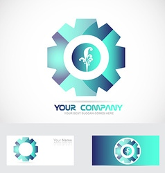 Abtract blue flower floral logo vector