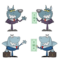 Animals Businessmen Cartoon Characters vector image