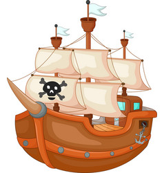antique pirate yacht cartoon vector image