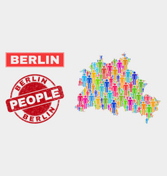Berlin city map population people and corroded vector