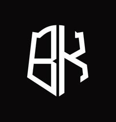Bk logo monogram with shield shape ribbon design vector