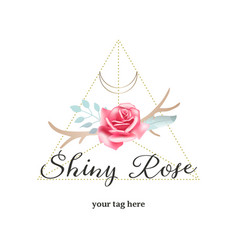 bohemian rose and antlers logo feminine vector image