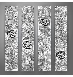 Cartoon doodles baby boom banners vector image
