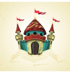 Cartoon fortified castle with flags Icon vector