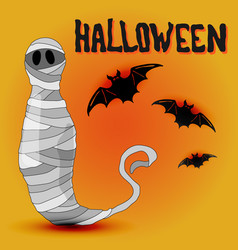 cartoon halloween design with mummy and bats vector image