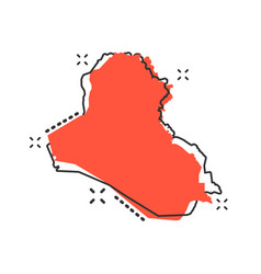 cartoon iraq map icon in comic style iraq sign vector image