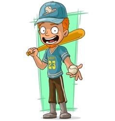 Cartoon redhead baseball player in cap vector image