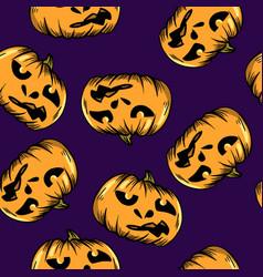 cartoon seamless pattern with pumpkin halloween vector image