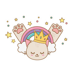 cat with crown vector image