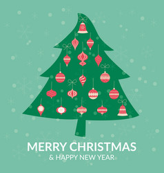 chistmas tree decoration greeting card vector image