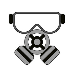 Color image cartoon gas mask protection element vector