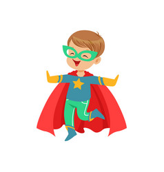 Comic little kid in colorful superhero costume vector