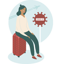 Covid-19 upset woman sitting on her suitcase vector