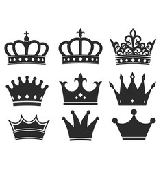 crown icon collection royal diadem symbol vector image