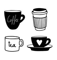 cups mug pattern seamless tile background hand vector image