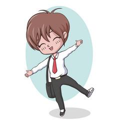 Cute kawaii school boy posing vector
