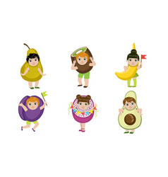 Cute little kids dressed as fruits set pear kiwi vector