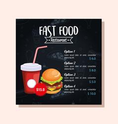 Delicious big burger fast food menu card vector