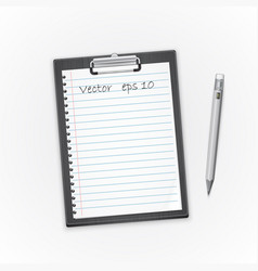 detailed black clipboard with paper and pencil vector image