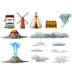 Different types of objects and clouds vector