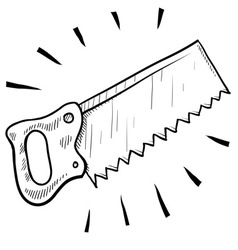 doodle saw handsaw vector image