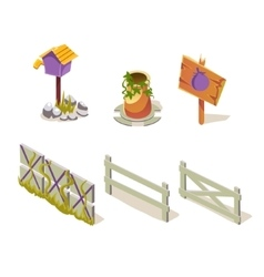 Farm Objects Simplified Cute Set vector