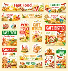 Fast food humburger pizza hot dog and soda tags vector