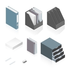 files folders paper stack storage boxes vector image