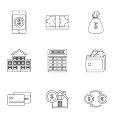 Finance icons set outline style vector image